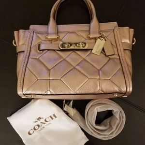 Coach Bags - Coach Metalic Patchwork Satchel in Rose Gold